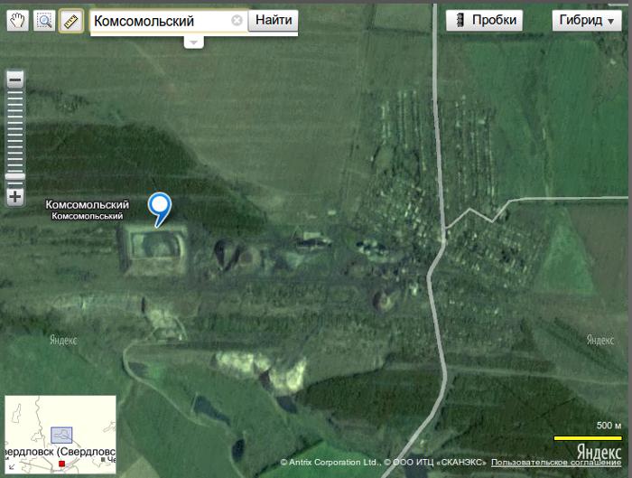 пгт Комсомольский на карте луганской области
