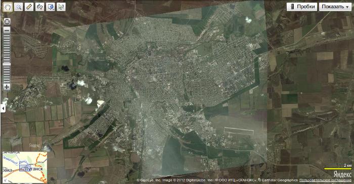 Спутниковый снимок Луганска на Яндекс-Картах.