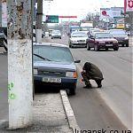 Наезд на бордюр в Луганске по ул. Оборонная