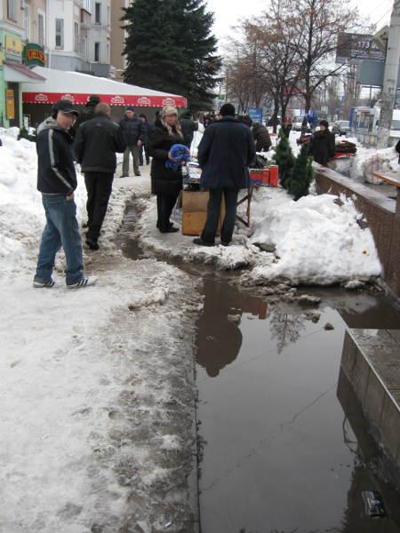 21 декабря 2009 в Луганске. Журчат ручьи.