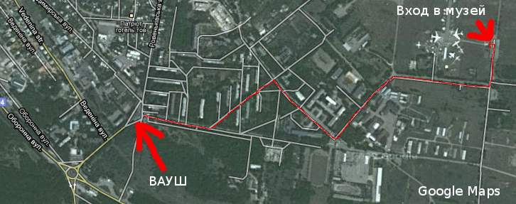 Схема расположения Музея авиации в Луганске