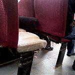 Еще одна ободранная седушка в маршрутке в Луганске.