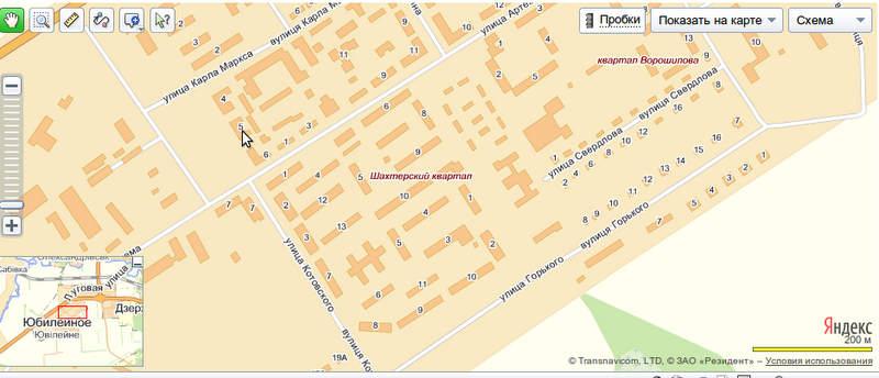 Яндекс.Карты: пос. Юбилейный, карта с улицами и номерами домов.