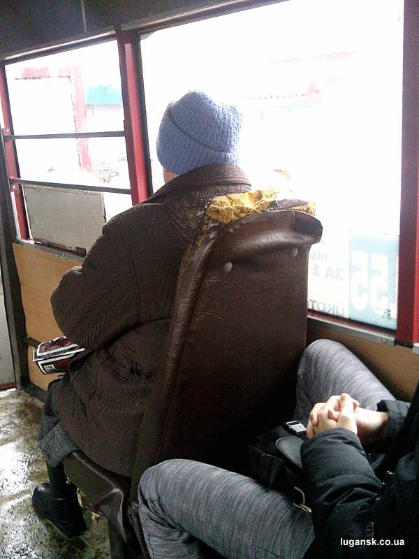 Убитое кресло в маршрутке. Луганск