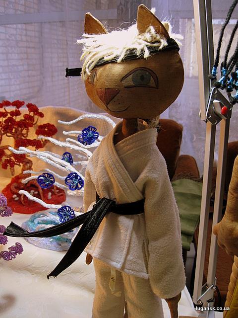 Кукла ручной работы.  Кошка в кимоно.